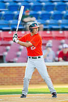 Brad Fieger #27 of the Miami Hurricanes at bat against the Wake Forest Demon Deacons at Gene Hooks Field on March 19, 2011 in Winston-Salem, North Carolina.  Photo by Brian Westerholt / Four Seam Images