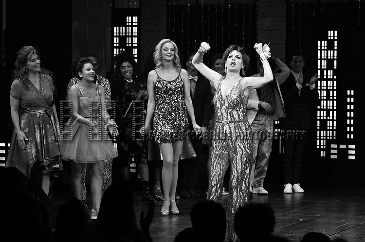 """Beth Leavel and cast during the Broadway Opening Night Curtain Call of """"The Prom"""" at The Longacre Theatre on November 15, 2018 in New York City."""