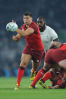 18 September 2015: Ben Youngs of England passes during Match 1 of the Rugby World Cup 2015 between England and Fiji, Twickenham Stadium, London, England (Photo by Rob Munro/CSM)
