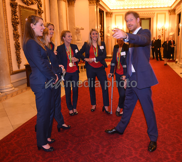 18 October 2016 - London, England - Prince Harry chats to Womens Hockey Team at a reception for Team GB and ParalympicsGB medallists from the 2016 Rio Olympic and Paralympic Games Buckingham Palace London. Photo Credit: Alpha Press/AdMedia