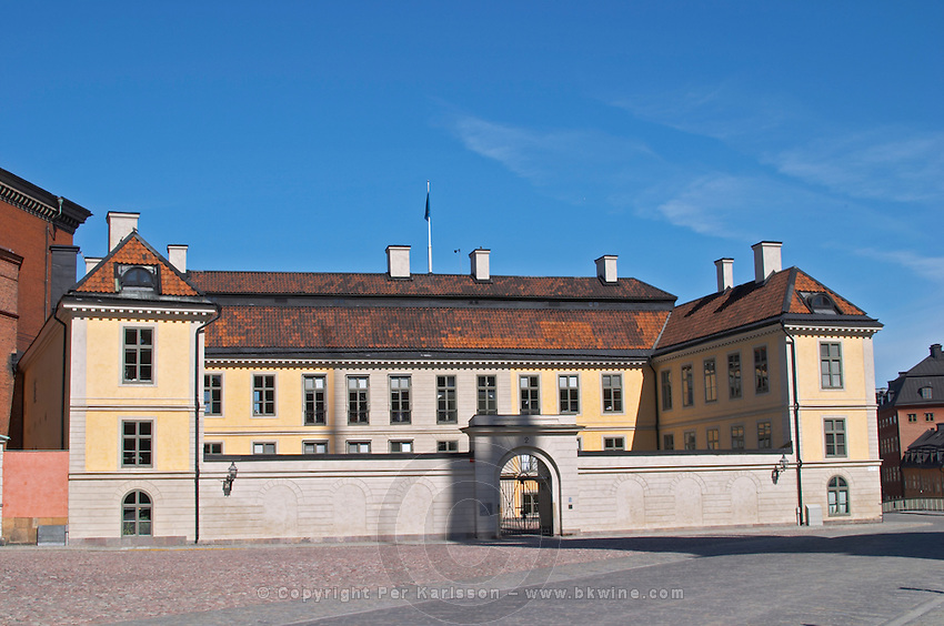 The yellow Hessensteinska Palatset on Riddarholmen dating from the 17th century. Stockholm. Sweden, Europe.