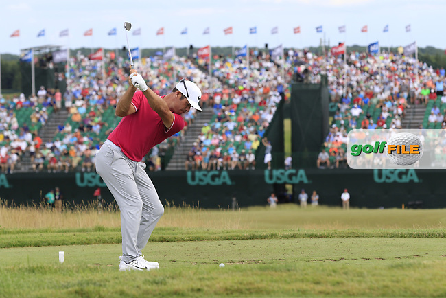 Paul Casey (ENG) tees off the par3 9th tee during Saturday's Round 3 of the 117th U.S. Open Championship 2017 held at Erin Hills, Erin, Wisconsin, USA. 17th June 2017.<br /> Picture: Eoin Clarke | Golffile<br /> <br /> <br /> All photos usage must carry mandatory copyright credit (&copy; Golffile | Eoin Clarke)