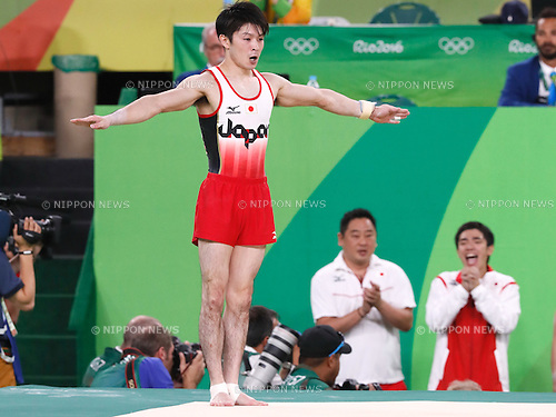 (L-R) Kohei Uchimura, Kenzo Shirai (JPN), <br /> AUGUST 8, 2016 - Artistic Gymnastics : <br /> Men's Final  <br /> Floor Exercise <br /> at Rio Olympic Arena <br /> during the Rio 2016 Olympic Games in Rio de Janeiro, Brazil. <br /> (Photo by Sho Tamura/AFLO SPORT)