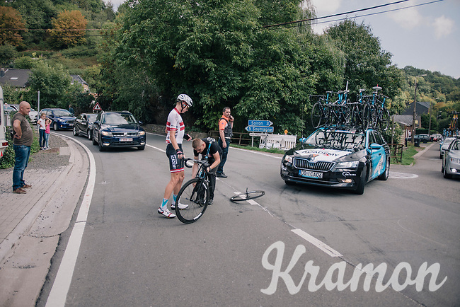 mechanical for Krists Neilands (LAT/Israel Cycling Academy)<br /> <br /> 59th Grand Prix de Wallonie 2018 <br /> 1 Day Race from Blegny to Citadelle de Namur (BEL / 206km)