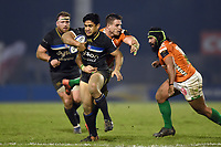 Ben Tapuai of Bath Rugby takes on the Benetton Rugby defence. European Rugby Champions Cup match, between Benetton Rugby and Bath Rugby on January 20, 2018 at the Municipal Stadium of Monigo in Treviso, Italy. Photo by: Patrick Khachfe / Onside Images