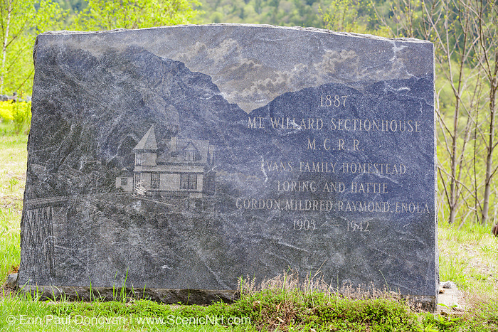May 2016 - It was recently discovered that vandals scratched the Evans family out of the monument that is located at the Mt. Willard Section House site. The Willard Section House site is located along the old Maine Central Railroad, next to the Willey Brook Trestle, in Crawford Notch. It was built in 1887 by the Maine Central Railroad to house the section foreman and crew who maintained the track. From 1903-1942, the Hattie Evans family lived at the house. And it was destroyed by fire in 1972.