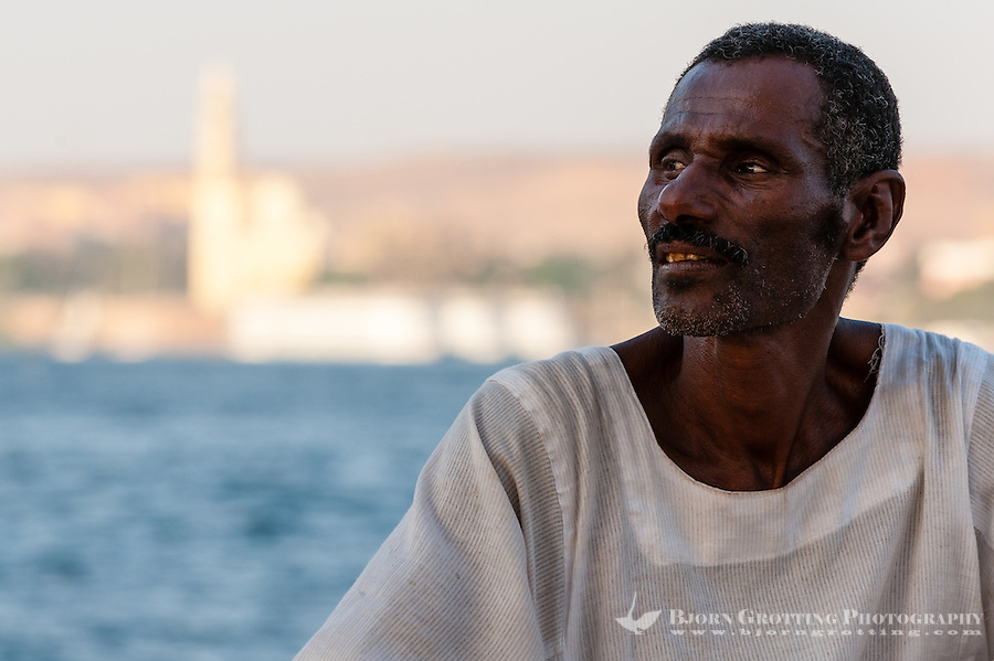 Egypt. Aswan stands on the east bank of the Nile. A felucca is a traditional wooden sailing boat. Our Nubian captain who took us sailing on the Nile.
