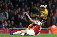 Adama Traore of Wolves and Rob Holding of Arsenal during Arsenal vs Wolverhampton Wanderers, Premier League Football at the Emirates Stadium on 11th November 2018