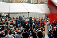 genova luglio 2001, proteste contro il g8. assemblea dei manifestanti allo stadio carlini --- genoa july 2001, protests against g8 summit. demonstrators meeting at the carlini stadium