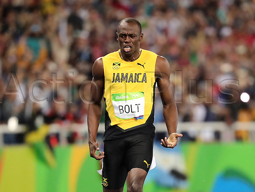 18.08.2016. Rio de Janeiro, Brazil. Usain Bolt of Jamaica reacts after winning the Men's 200m Final of the Olympic Games 2016 Athletic, Track and Field events at Olympic Stadium during the Rio 2016 Olympic Games in Rio de Janeiro, Brazil, 18 August 2016.