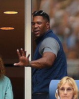 FLUSHING NY- SEPTEMBER 05:  Michael Strahan seen watching Serena Williams Vs Yaroslavl Shvedova on Arthur Ashe Stadium at the USTA Billie Jean King National Tennis Center on September 5, 2016 in Flushing Queens. Credit: mpi04/MediaPunch