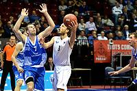 GRONINGEN - Basketbal, Donar - Landstede Zwolle, Supercup seizoen 2017-2018, 05-10-2017, Donar speler Aron Roye met Landstede speler Nigel van Oostrum