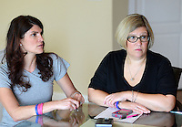 NEWTOWN, PA - JUNE 12: Jill Gobora (L) and Patti Cush (R), co-founders of the Amy's Kisses Foundation speak about the organization June 12, 2014 in Newtown Pennsylvania. The foundation was started in honor of Jill's sister Amy Perez, a school teacher in New York State murdered in 2011 along with her children by her husband. The foundation raises money to benefit schools and educational groups.  (Photo by William Thomas Cain/Cain Images)