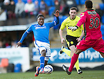St Johnstone v St Mirren.....11.01.14   SPFL<br /> Nigel Hasselbaink prods the ball past the oncoming Christopher Dilo only to see it go wide<br /> Picture by Graeme Hart.<br /> Copyright Perthshire Picture Agency<br /> Tel: 01738 623350  Mobile: 07990 594431