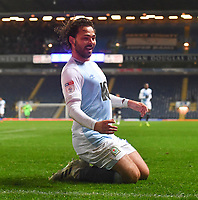 Blackburn Rovers' Bradley Dack celebrates scoring his sides 2nd goal<br /> <br /> Photographer Dave Howarth/CameraSport<br /> <br /> The EFL Sky Bet Championship - Blackburn Rovers v Derby County -Tuesday 9th April 2019 - Ewood Park - Blackburn<br /> <br /> World Copyright &copy; 2019 CameraSport. All rights reserved. 43 Linden Ave. Countesthorpe. Leicester. England. LE8 5PG - Tel: +44 (0) 116 277 4147 - admin@camerasport.com - www.camerasport.com