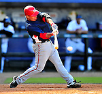 7 March 2010: Washington Nationals' catcher Jamie Burke gets a hit during a Spring Training game against the New York Mets at Tradition Field in Port St. Lucie, Florida. The Mets edged out the Nationals 6-5 in Grapefruit League pre-season play. Mandatory Credit: Ed Wolfstein Photo