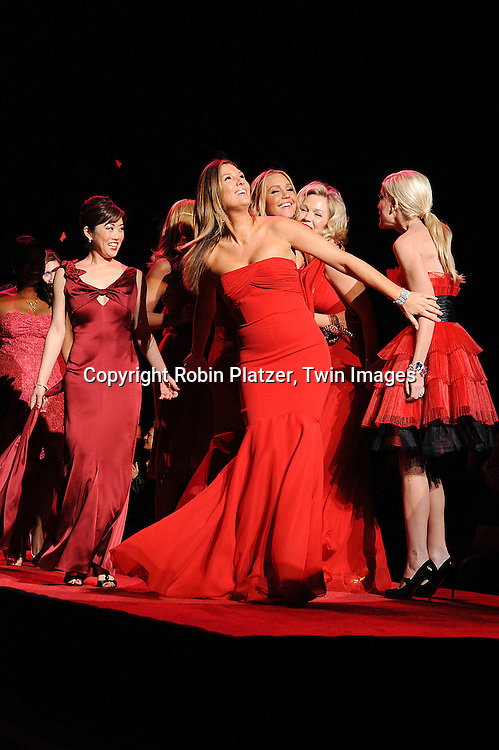 Kristi Yamaguchi and Daisy Fuentes and group ..at The Heart Truth's Red Dress Fashion Show on February 12, 2009 at Mercedes Benz FAshion Week. Swarovski was one of the sponsers for this show. ....Robin Platzer, Twin Images