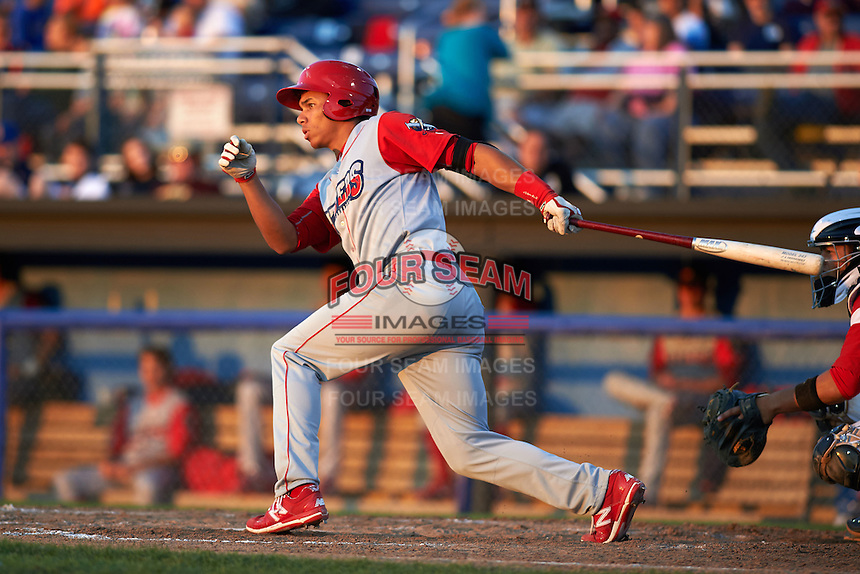 Williamsport Crosscutters third baseman Jan Hernandez (12) at bat during a game against the Batavia Muckdogs on July 15, 2015 at Dwyer Stadium in Batavia, New York.  Williamsport defeated Batavia 6-5.  (Mike Janes/Four Seam Images)