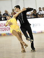 CALI – COLOMBIA – 22 – 09 – 2015: Alberto Maffei y Rachele Campanol, deportistas de Italia, durante en Parejas Danza Mayores, en el LX Campeonato Mundial de Patinaje Artistico, en el Velodromo Alcides Nieto Patiño de la ciudad de Cali. / Alberto Maffei and Rachele Campanol, skaters from Italy, during the Senior Couple Dance, in the LX World Championships Figure Skating, at the Alcides Nieto Patiño Velodrome in Cali City. Photo: VizzorImage / Luis Ramirez / Staff.
