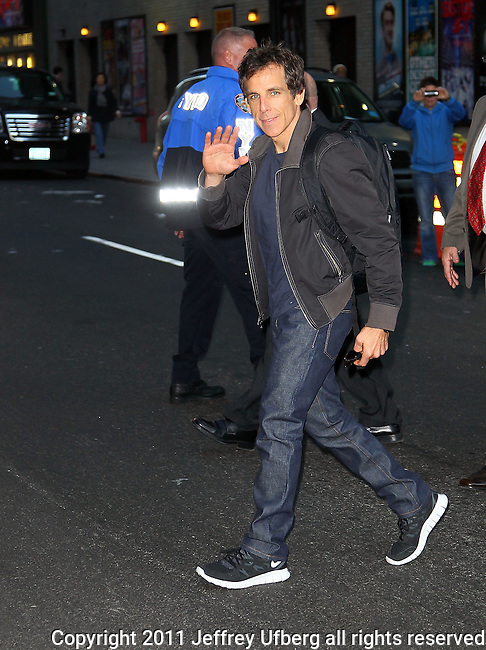 "Nov. 1, 2011 New York: Actor Ben Stiller visits ""Late Show with David Letterman"" at the Ed Sullivan Theatre on November 1, 2011 in New York."