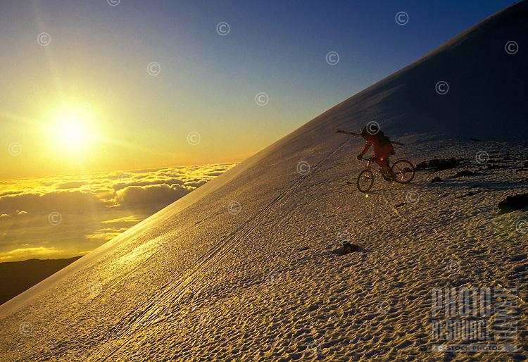 Biking on the volcano, Mauna Kea, Big Island