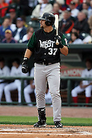 June 17th 2008:  Mitch Moreland of the Clinton Lumberkings, Class-A affiliate of the Texas Rangers, during the Midwest League All-Star Game at Dow Diamond in Midland, MI.  Photo by:  Mike Janes/Four Seam Images