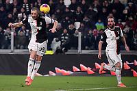 Leonardo Bonucci of Juventus scores the goal of 3-0 <br /> Torino 22/01/2020 Juventus Stadium <br /> Football Italy Cup 2019/2020 <br /> Juventus FC - AS Roma <br /> Photo Federico Tardito / Insidefoto