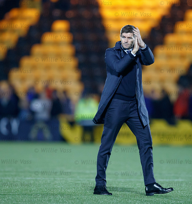 25.09.2018 Livingston v Rangers: Steven Gerrard applauds the travelling fans after booking a slot in the cup semis