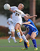 St. Anthony's No. 24 Francesca Picicci leaps to keep the ball in front of her during the NSCHSAA varsity girls' soccer Class AA championship against Kellenberg at St. John the Baptist High School on Thursday, October 29, 2015. St. Anthony's won by a score of 3-0.<br /> <br /> James Escher