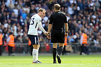 Christian Eriksen of Tottenham Hotspur argues with the referee after he failed to award Spurs a penalty then /9/ scored at the other end during Tottenham Hotspur vs Leicester City, Premier League Football at Wembley Stadium on 13th May 2018