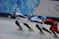 OLYMPICS: SOCHI: Iceberg Skating Palace, 15-02-2014, Short Track, Men's 1000m, Finals, Vladimir Grigorev (#252 | RUS), Victor An (#250 | RUS), Dajing Wu (#212 | CHN), ©photo Martin de Jong