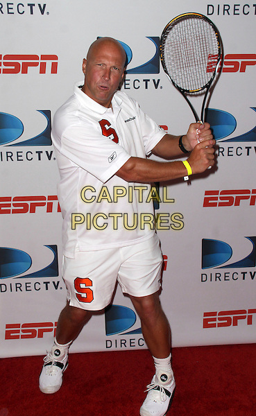 LUKE JENSEN .DIRECTTV and ESPN brings the US Open to Bryant Park with the DIRECTTV ESPN US Open Experience, New York, NY, USA, 26th August 2009..full length smiling teeth white t-shirt shorts trainers racquet tennis  tennis.CAP/ADM/PZ.©Paul Zimmerman/Admedia/Capital Pictures
