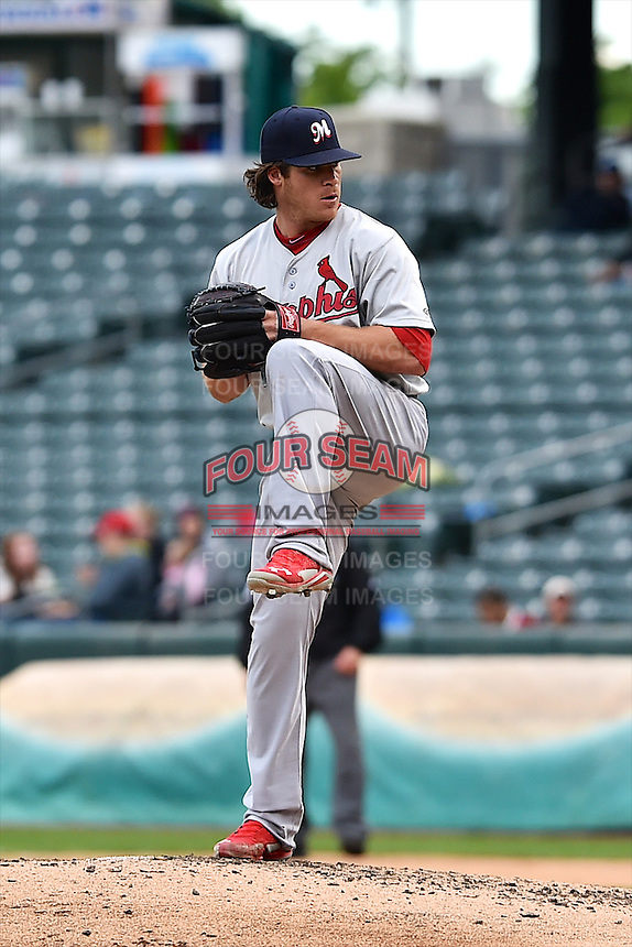 Eric Fornataro (51) of the Memphis Redbirds delivers a pitch to the plate against the Salt Lake Bees at Smith's Ballpark on June 18, 2014 in Salt Lake City, Utah.  (Stephen Smith/Four Seam Images)