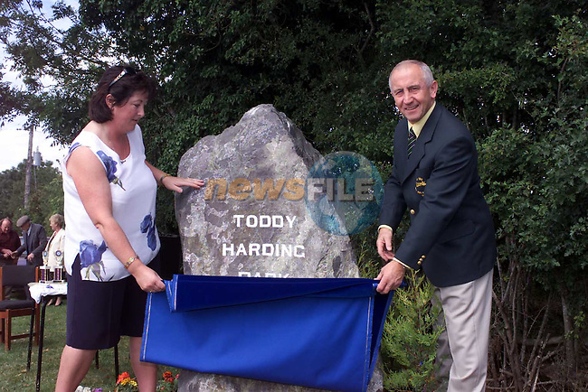 Sean Boyland and patricia harding unvail a stone to Toddy Harding .Picture Fran Caffrey Newsfile