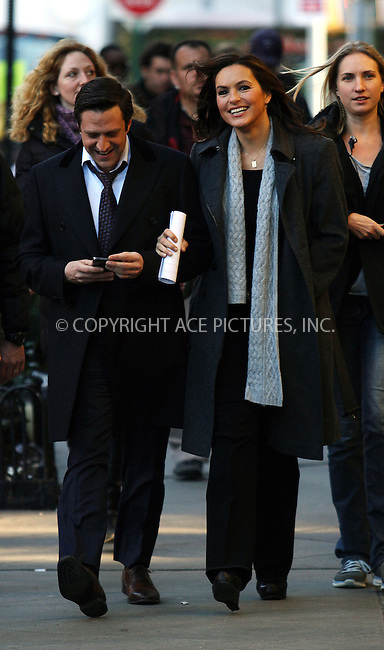 WWW.ACEPIXS.COM....December 19 2012, New York City....Actors Raul Esparza and Mariska Hargitay were on the set of the TV show 'Law and Order: SVU' on December 19 2012 in New York City....By Line: Zelig Shaul/ACE Pictures......ACE Pictures, Inc...tel: 646 769 0430..Email: info@acepixs.com..www.acepixs.com