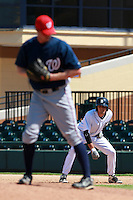 Detroit Tigers third baseman Nick Castellanos (44) leads off first during a game vs. the Washington Nationals in an Instructional League game at Joker Marchant Stadium in Lakeland, Florida;  October 1, 2010.  Castellanos was selected in the first round, 44th overall supplemental, of the 2010 MLB Draft out of Archbishop McCarthy High School in Southwest Ranches, FL.  Photo By Mike Janes/Four Seam Images