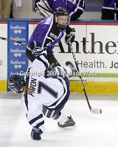 Mary McKinnon (Niagara - 4), Kelly Paton (UNH - 7) - The Niagara University Purple Eagles tied the University of New Hampshire Wildcats 3-3 on Saturday, October 17, 2009, at the Whittemore Center in Durham, New Hampshire.