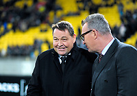 Steve Hansen talks to Sir John Kirwan after the Steinlager Series international rugby match between the New Zealand All Blacks and France at Westpac Stadium in Wellington, New Zealand on Saturday, 16 June 2018. Photo: Dave Lintott / lintottphoto.co.nz