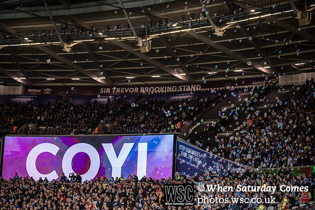 West Ham United 0 Brighton & Hove Albion 3, 20/10/2017. London Stadium, Premier League. Bubbles fill the night air ahead of kick off. Photo by Simon Gill.