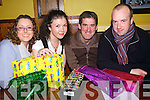 Members of Listowel Macra Na Feirme, show off some of the spot prizes for the table quiz in the Three Mermaids bar Listowel on Friday night, pictured l-r. Diane Murphy, Christine Allen, Liam Bambury and Mike Carmody..