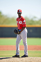 Cincinnati Reds pitcher Yerry Santos (93) during an Instructional League game against the Texas Rangers on October 4, 2016 at the Surprise Stadium Complex in Surprise, Arizona.  (Mike Janes/Four Seam Images)