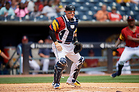 Toledo Mud Hens catcher Kade Scivicque (4) waits for a throw during an International League game against the Durham Bulls on July 16, 2019 at Fifth Third Field in Toledo, Ohio.  Durham defeated Toledo 7-1.  (Mike Janes/Four Seam Images)
