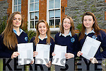 Exams<br /> ---------<br /> Girls from Presentation school, Castleisland who received their junior cert results last Wednesday morning were L-R Kerrie McCarthy, Megan Hickey, Grace Murphy and Tamara Horan.