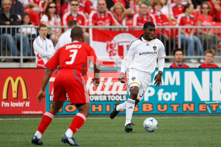 Los Angeles Galaxy midfielder Brandon McDonald (32). Toronto FC defeated the Los Angeles Galaxy 2-0 during a Major League Soccer match at BMO Field in Toronto, Ontario, Canada, on May 31, 2008.