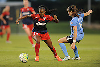 Boyds, MD - Saturday June 25, 2016: Crystal Dunn, Kelley O'Hara during a United States National Women's Soccer League (NWSL) match between the Washington Spirit and Sky Blue FC at Maureen Hendricks Field, Maryland SoccerPlex.