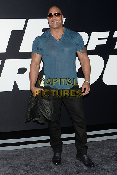 NEW YORK, NY - APR 08: Dwayne Johnson attends the Premiere of &quot;The Fate of the Furious&quot; at Radio City Music Hall on April 8, 2017 in NEW YORK CITY.<br /> CAP/LNC/TOM<br /> &copy;TOM/LNC/Capital Pictures