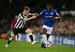 Matt Ritchie of Newcastle United tackles Yannick Bolasie of Everton during the premier league match at Goodison Park Stadium, Liverpool. Picture date 23rd April 2018. Picture credit should read: Simon Bellis/Sportimage