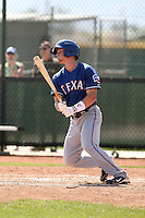 Ryan Strausborger of the Texas Rangers  plays in a minor league spring training game against the San Diego Padres at the Rangers complex on March 26, 2011  in Surprise, Arizona. .Photo by:  Bill Mitchell/Four Seam Images.