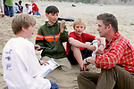 J. Nichols With Dennis, Holden & Bodhi On Beach Cleanup