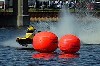 Terry Rinker's AeroSlot/Mercury, rounds a buoy.  F1/Formula 1 class..Bay City River Roar, Bay City,Michigan USA.26-2821 June, 2009..©F. Peirce Williams 2009 USA.F.Peirce Williams.photography.ref: RAW (.NEF) File Available